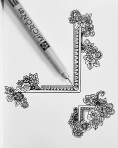 new Ideas for drawing ink doodles zentangle patterns Zentangle Drawings, Mandala Drawing, Doodle Drawings, Zentangle Pens, Flower Drawings, Doodle Sketch, Tattoo Drawings, Doodle Designs, Doodle Patterns