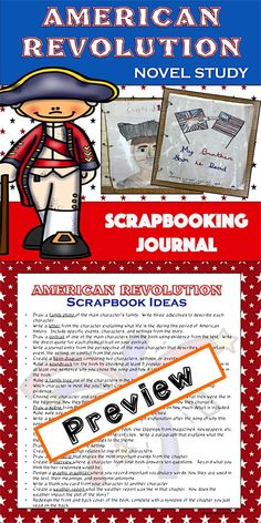 "American Revolution Scrapbook Novel Study - Students will love this fun and interactive project.  Scrapbooks are a fun and creative alternative to your ""standard book report"" and are an excellent method for students to showcase their learning while meeting common core standards."