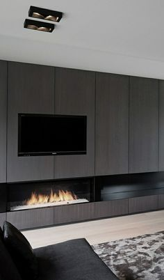 40 Unique TV Wall Unit Setup Ideas It is often believed that the advent of TV in our lives has set a distance in our lives and relationships. But with crafty use of the TV wall unit setup can ensure that this is not the case. Living Room Tv, Living Room With Fireplace, Home And Living, Black Fireplace, Fireplace Wall, Fireplace Drawing, Fireplace Candles, Linear Fireplace, Country Fireplace