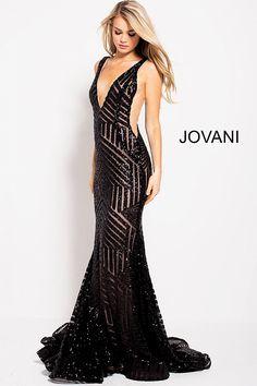 02946decfe Jovani Prom 59762 Black Nude Embellished V Neck Fitted Prom Dress 59762