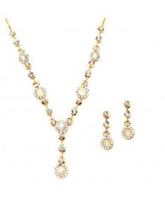 AB & Gold Multi Floral Drop Necklace Set for Prom or Weddings