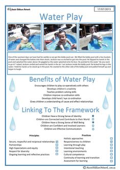 This template can be used to show how a child benefits from playing with water. The natural attraction that children have with water makes it perfect. Childcare Activities, Preschool Learning Activities, Play Based Learning, Learning Through Play, Early Learning, Early Education, Early Childhood Education, Kids Education, Eylf Learning Outcomes