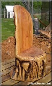 10 woodworking projects you can make that sell really well. Garden projects is an enjoyable and easy woodworking niche to work in. Handmade Wood Furniture, Rustic Log Furniture, Diy Wood Projects, Wood Crafts, Garden Projects, Woodworking Projects, Tree Chair, Log Chairs, Rough Wood