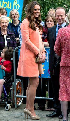 Kate Middleton wore a bump-hugging peach dress!