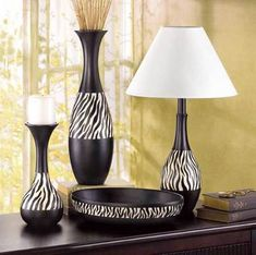 Zebra vase, lamp, bowl, and candle holder. Could use bowl to hold towls, etc. all for guest bathroom (African-theme). Safari Home Decor, Safari Decorations, African Interior, African Home Decor, African Room, African Theme, African Style, African Art, Zebra Print Bedroom