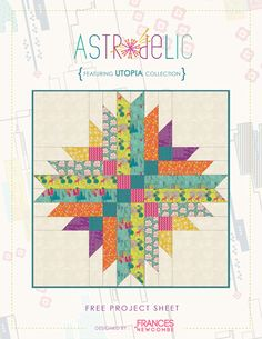 """Astrodelic"" Free Quilt Pattern from Utopia by Frances Newcombe http://www.liveartgalleryfabrics.com/freePatterns/pdfs/astrodelic_instructions.pdf  This pattern is for a whole quilt but you could do it as a 12"" block with the strips 1"" each and the corner squares being 3"". Foundation quilting would keep it straight."