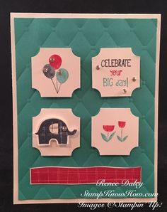 Little Elephant Stamp Set and Punch by Stampin UP Simple Birthday Cards, Kids Birthday Cards, Handmade Birthday Cards, Kids Cards, Baby Cards, Rubber Stamping Techniques, Elephant Birthday, Stampin Up Catalog, Little Elephant