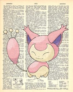 Skitty Pokemon Dictionary Art Print by MollyMuffinsPrints on Etsy