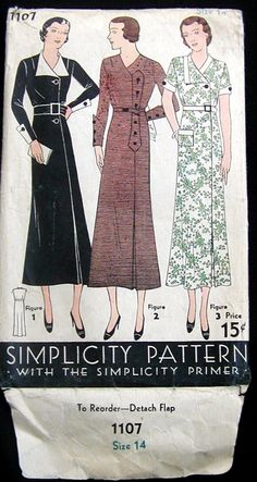 Vintage 1930's Art Deco Simplicity 1107 Ladies Dress Frock Fabric Sew Pattern 14 | eBay