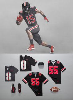 Ohio State unveils first-ever black Buckeyes uniforms. Buckeyes will wear alternate uniform vs. Penn State on College Football Uniforms, Sports Uniforms, Ohio State Football, Ohio State Buckeyes, Blackout Game, Florida Gators, A Team, Nfl, Concept