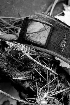 Detail of the abandoned antique car.