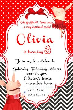 Olivia the pig invitation Party Personalized by LovelyDesings