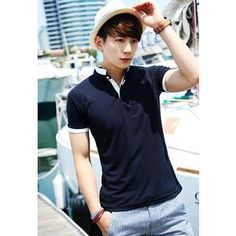 Contrast-Trim Mandarin-Collar Polo Shirt from #YesStyle <3 HOTBOOM YesStyle.com