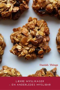Lækre myslikager - en anderledes myslibar Muesli Cookies, Healthy Snacks For Diabetics, What To Cook, Cupcake Cookies, Cake Recipes, Delish, Brunch, Food And Drink, Cooking