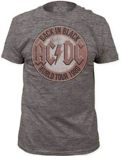 Classic AC/DC concert tour t-shirts are at Rocker Rags! Click here for men's Back in Black World Tour 1980 tees. Free Shipping!