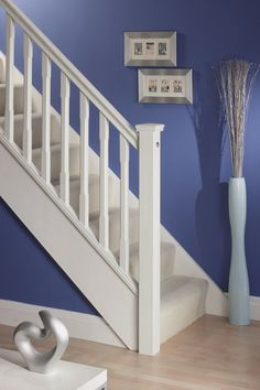 Marvelous Wood Stair Spindles Home Stair Design Ideas Pictures 85 Wooden Staircase Railing, Wood Handrail, Stair Spindles, White Staircase, Staircase Runner, Oak Stairs, House Stairs, Staircase Ideas, Glass Stairs