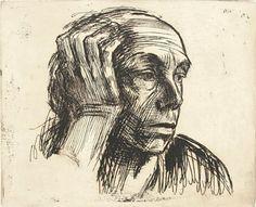 Kathe Kollwitz Self portrait with hand on side of face