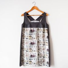 Frenchie Style Print & Grey Cotton Contrast Tunic Dress