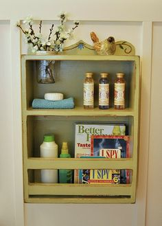 LOVE this bathroom shelf with a mason jar inset!  Pretty sure I NEED one.
