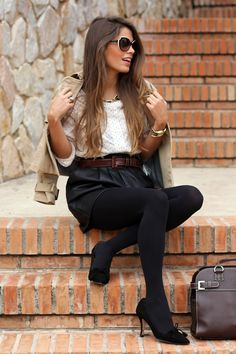 White blouse with tiny black polka dots; black skirt, tights, and pumps; trench coat -- work / professional outfit