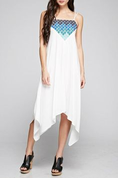 Ombre geo embroidered front handkerchief dress with dual strap detail.  Embroidered Handkerchief Dress by Denim Spot. Clothing - Dresses - Casual Clothing - Dresses - Midi California
