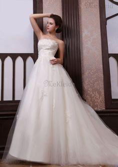 Trägerlos A-Line Tüll Halle Brautkleid mit Perlen ohne Ärmeln
