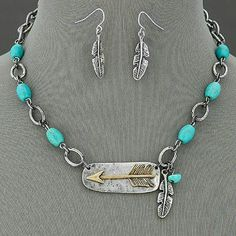 """Bohemian Arrow Necklace and Earrings Brand new with tags! 18"""" chain Antiqued silver and faux turquoise. Jewelry Necklaces"""