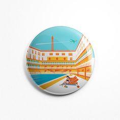 Magnet Rond Illustration Paris - Piscine Molitor Aimant Frigidaire Vector Art Illustration Tour Eiffel Cuisine 56mm Diamètre