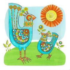 Cindy Wilde - Thanks 2 Blue Birds. Retro Art, Blue Bird, Thankful, Birds, Peacock, Illustration, Thanksgiving, Decor, Painting On Fabric