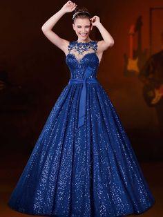 vestido de baile bateau do assoalho-comprimento de cetim vestido de noite / baile de finalistas - USD $ 117.99