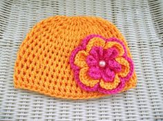 Crocheted Beanie Mango with Removable Flower Pin Brooch Mango , Bright Pink
