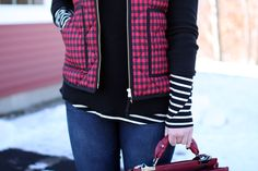 j.crew puffer vest buffalo plaid, boston style blogger, winter layers, red and black buffalo plaid, old navy striped top, black sweater, ray-ban aviators, topshop v-panel carry all purse,