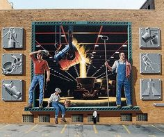 The Steel Mill mural painted by Eric Grohe. The mural is located in Steubenville, Ohio. 3d Street Art, Street Artists, Road Painting, Mural Painting, World Famous Artists, 3d Wall Murals, Art Optical, Sidewalk Art, Wall Drawing