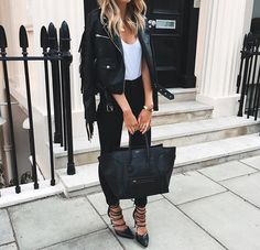 leather jacket + celine + heels