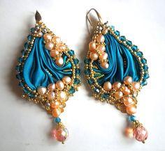 orecchini seta shibori embroidery