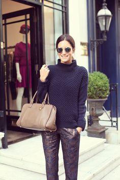 Gala Gonzalez wears Asos suit-trousers, TopShop jumper, Loewe amazona bag and Marc Jacobs pumps