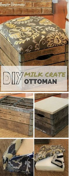 DIY Vintage Milk Crate Ottoman. Turn the vintage milk crate into the unique ottoman for your living space with the free working plan.