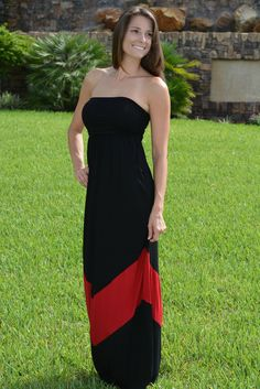 HEY Y'ALL Black Red GA Strapless Maxi Dress Game Day Shop Simply Me Boutique – Simply Me Boutique