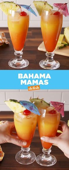 Bahama Mamas You're always on vacation when you have a Bahama Mama in hand. Related posts: Coconut Mojito Cocktail 23 Delicious Non-Alcoholic Cocktails To Drink Instead Of Booze Five-minute easy fudge recipe Easy Homemade Caramel Frappe Liquor Drinks, Cocktail Drinks, Beverages, Bourbon Drinks, Cocktail Ideas, Drinks With Rum, Dark Rum Cocktails, Rum Mixed Drinks, Orange Juice Cocktails