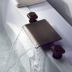 Antique Brass Waterfall Widespread Bathroom Sink Faucet T7011A