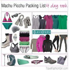 Machu Picchu Packing List and Travel Gear by travelfashiongirl, via Polyvore