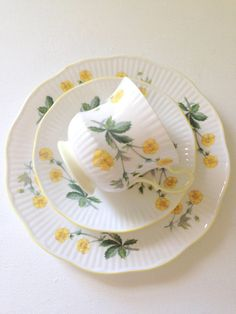 The Little Yellow Cottage on Magnolia Lane China Cups And Saucers, China Tea Cups, Teapots And Cups, Teacups, Vintage China, Vintage Tea, Yellow Cottage, Rose Cottage, My Cup Of Tea
