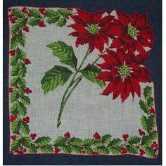 Vintage Ladies Handkerchief Red Poinsettia