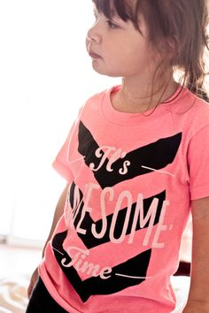 It's Awesome Time Girls Neon Pink by PrintedPalette on Etsy, $26.00