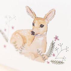 Oh deer, dit hertje tekende ik speciaal voor een geboortekaartje