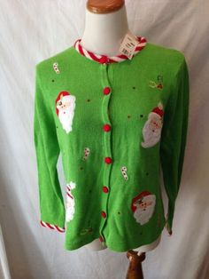TIARA INTERNATIONAL lime green Santa Ugly Xmas Sweater Cardigan M NEW NWT