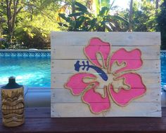 Handmade Hibiscus with Rope Beach Pallet Art by BeachByDesignCo on Etsy https://www.etsy.com/listing/213311301/handmade-hibiscus-with-rope-beach-pallet