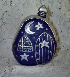 Dark Blue Rock Fairy Houses | Flickr - Photo Sharing! Cool design for rock painting.