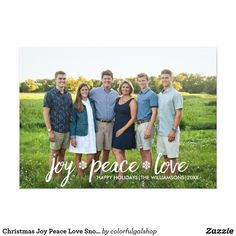 """Christmas Joy Peace Love Snowflake Holiday Photo Card Celebrate the season with this Holiday photo card featuring the words """"Joy Peace Love"""" in a brush script font and 2 festive snowflakes. Just add your photo and custom greeting to create a holiday card that is sure to make family and friends smile. Please check out our wonderful collection of Christmas photo cards by clicking on the Colorfulgalshop logo below. Photography credits: Lisa Buth Photography."""