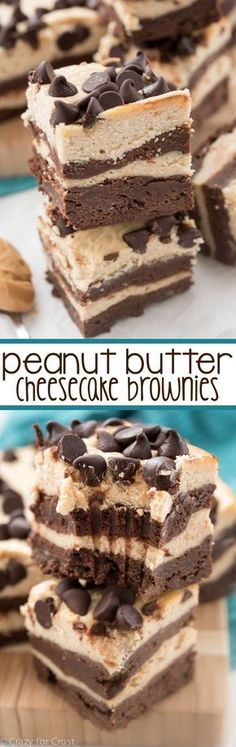 4 Layer Peanut Butter Cheesecake Brownies - this EPIC dessert is actually easy! Four layers of brownie and peanut butter cheesecake make an indulgent dessert!